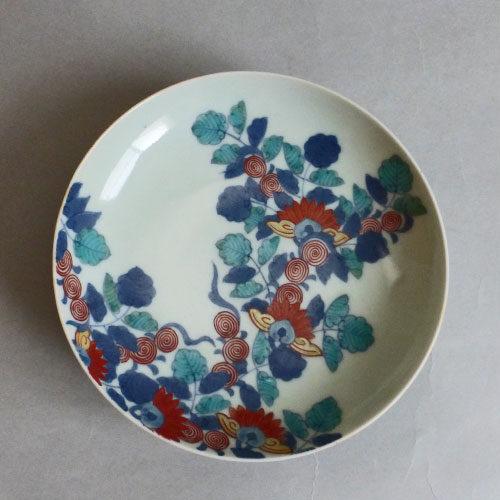 色鍋島蔓薔薇図五寸皿