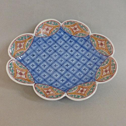 初期色鍋島七宝文変型皿