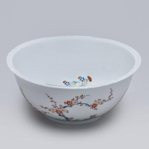 色絵柿右衛門様式梅竹鳥文鉢
