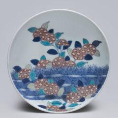 色鍋島紫陽花に柴垣図五寸皿
